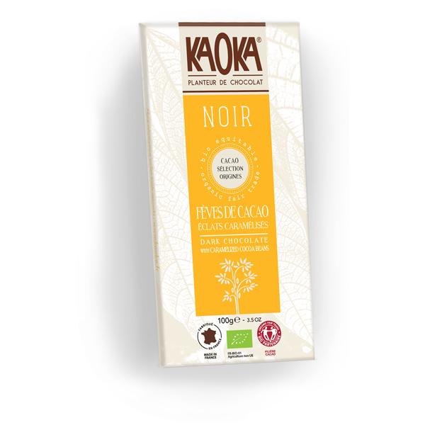 Chokolade økologisk 61 procent mørk karameliseret kakao nibs Kaoka 100g