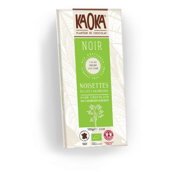 Chokolade økologisk 66 procent mørk karameliserede hasselnødder Sao Tome Kaoka 100g