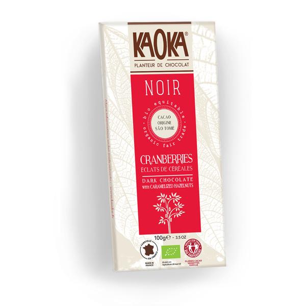 Chokolade økologisk 66 procent mørk tranebær Sao Tome Kaoka 100g