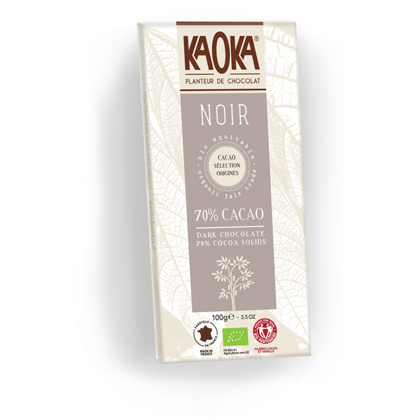 Chokolade økologisk 70 procent mørk hele kakaobønner Kaoka 100g