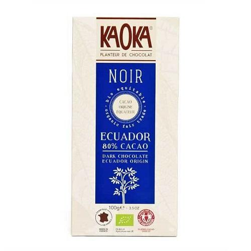 Kaoka mørk chokolade fra Ecuador 80 procent økologisk fairtrade 100g