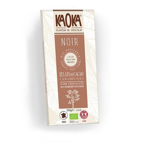 Karameliserede kakaobønner i mørk chokolade