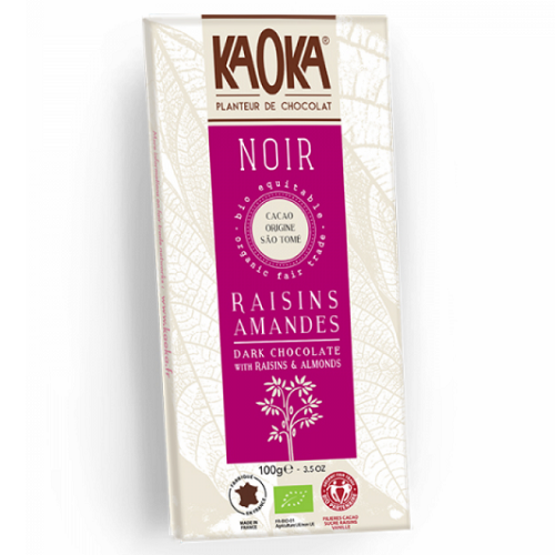 Chokolade-økologisk-rosiner og mandler 66 procent mørk-KAOKA