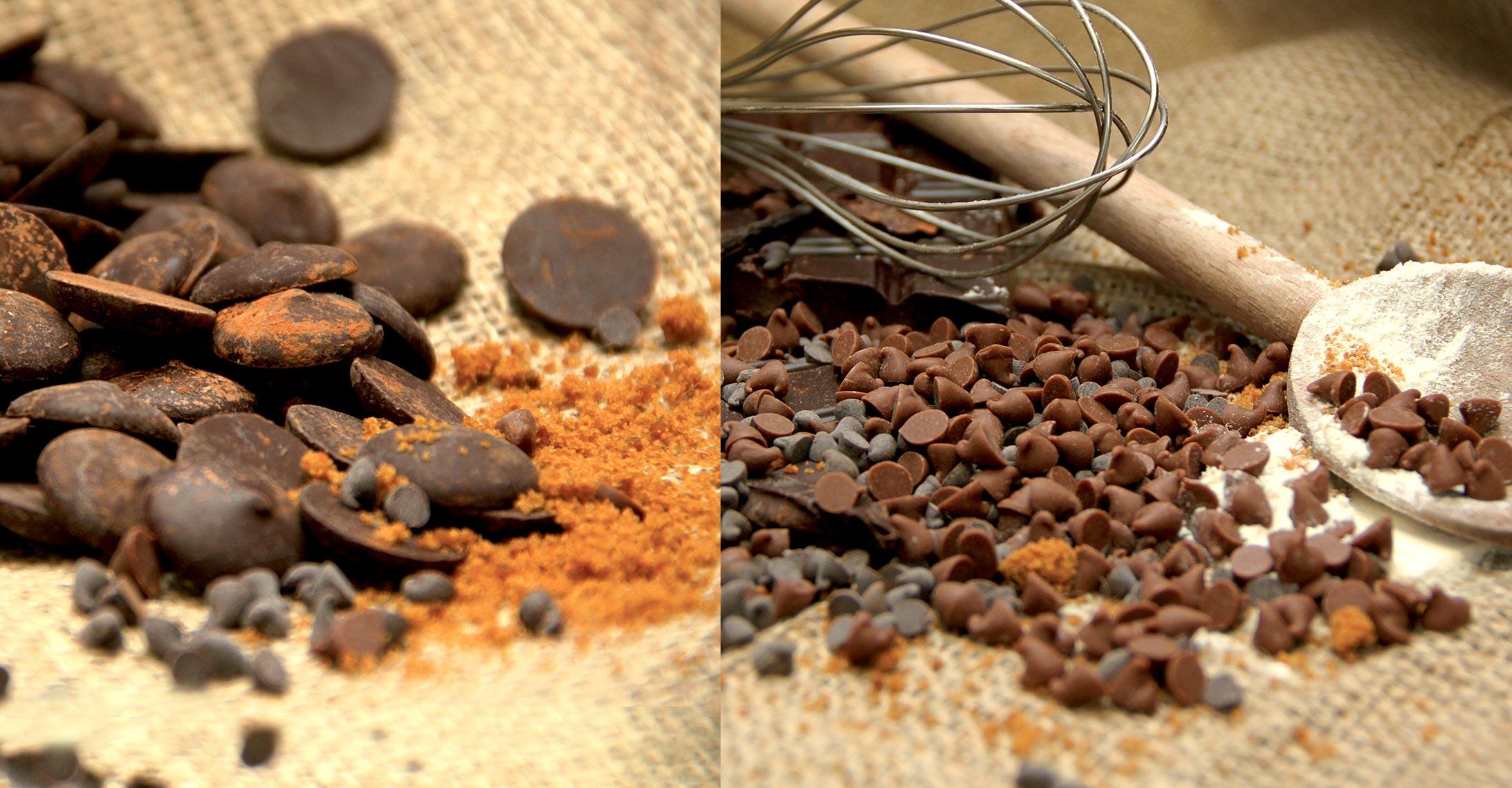 chokolade chips og drops baggrundsbillede økologisk